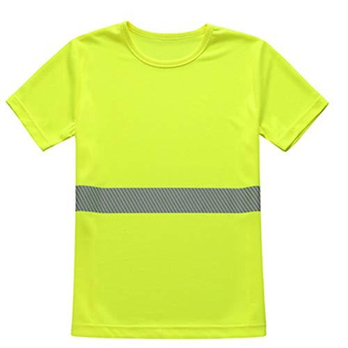 Mexff T-Shirt Mit Hoher Sichtbarkeit Reflektierendes Band Sicherheitsknopf Atmungsaktiv Leichtes Doppelband Workwear Top,Yellow,XL - Reflektierende Shirt Fahrrad