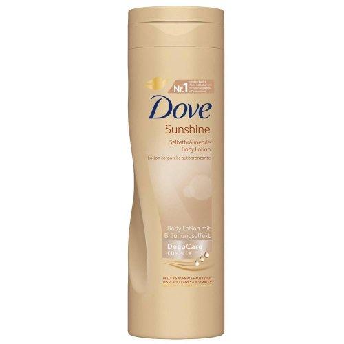 Dove Sunshine Lotion 250ml, für helle bis normale Haut, Selbstbräunende Body Lotion