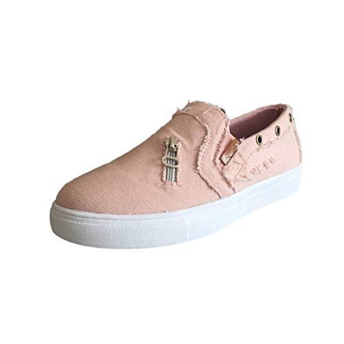 BURFLY Damen einfache Schuhe EIN Pedal Casual Canvas Loafers Jeans Reißverschluss Flache Faule ()