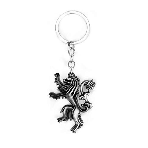 Lannister Logo Keychain Lion Badge Keychain Color-Ancient Tin ()