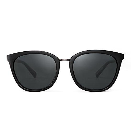 JIM HALO Polarisiert Gradient Klassisch Sonnenbrille Retro Katzen Quadrat Auge Brille Damen Herren(Schwarz/Polarisiertes Grau)