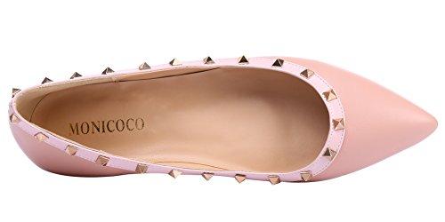 MONICOCO Übergröße Flache Damenschuhe Spitze Zehen Lackleder Geschlossene Ballerinas mit Nieten Natural PU