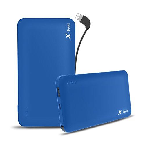 X-dodd Externer Akku 10000mAh Powerbank Batterie Extra mit Integriertem Kabel & Lightning Adapter kompakter als jemals zuvor extrem hohe Kapazität 2A Output Sagitta Portable Ladegerät Technologie für iPhone X 8 8Plus 7 6s 6Plus, iPad, Samsung Galaxy und weitere Smartphones (Blau) (Kabel Extreme Power Bank Mit)