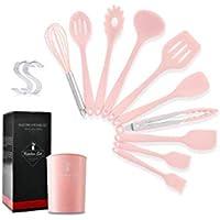 XXT Herramientas 10pcs con todo incluido silicona Vajilla de almacenamiento del cubo y pala cuchara antiadherente de cocina XXT (Color : Pink)