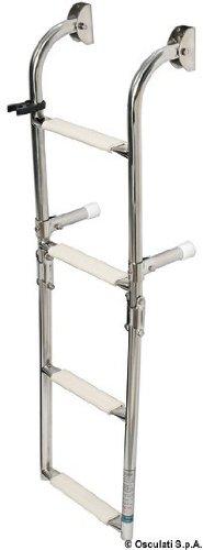 Osculati Edelstahl Klapp-Badeleiter mit 4 Stufen - 900mm - Standard Modell -