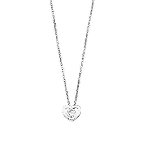 Amor Damen-Kette 42 cm mit Anhänger Herz 925 Silber rhodiniert Zirkonia weiß