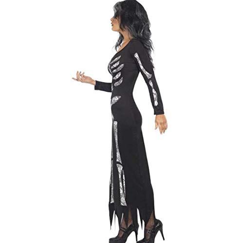 Costumi di Scheletro di Halloween Horror delle Donne Costumi di Prestazione del Partito del Fantasma Siamese XIAOXIAO (Colore : Nero, Dimensione : M)