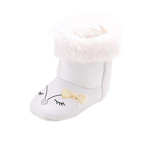 Clode® Winter-weich Sohle Krippe Warm Knopf Wohnungen Boot Kleinkind Stiefel prewalker Schuhe Weiß