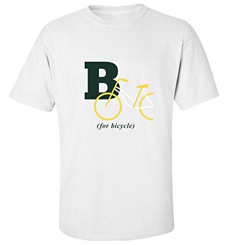 B for bicycle alphabet slogan t-shirt homme blanc (XXL)