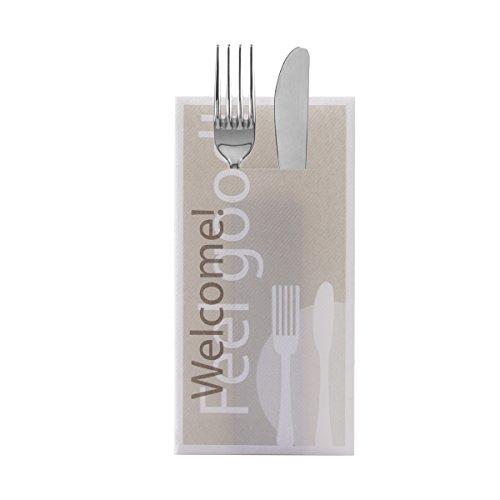Sovie HORECA Besteckserviette Feel Good | Linclass® Airlaid 40x40 cm | Gastronomie Feier Restaurant | 100 Stück Grau (Hochzeit Brunch Einladungen)