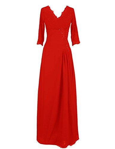 Dresstells, Robe de soirée Robe de cérémonie Robe de mère de mariée col en V manches 3/4 Rouge