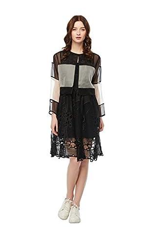 Good dress Silk cardigan short jacket,Black and white stitching,S