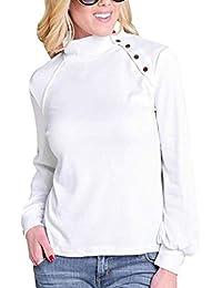 QinMM Camiseta túnica con Cuello Alto para Mujer Sudadera Jersey Manga Larga Botones Tops Blusa Talla