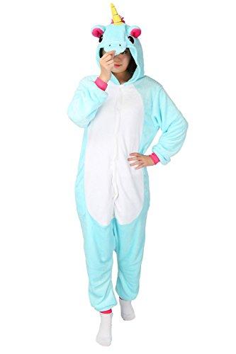 LATH.PIN Tier Pyjama Einhorn Kostüm Karton Tierkostüme Halloween Kostüme Jumpsuit Erwachsene Schlafanzug Unisex Cosplay- Gr, M(Höhe152-165CM), Blau Pferd