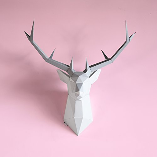 Brownfolds DIY Paper Wall Trophy; Origami Deer Head Wall Decor Art Piece;...