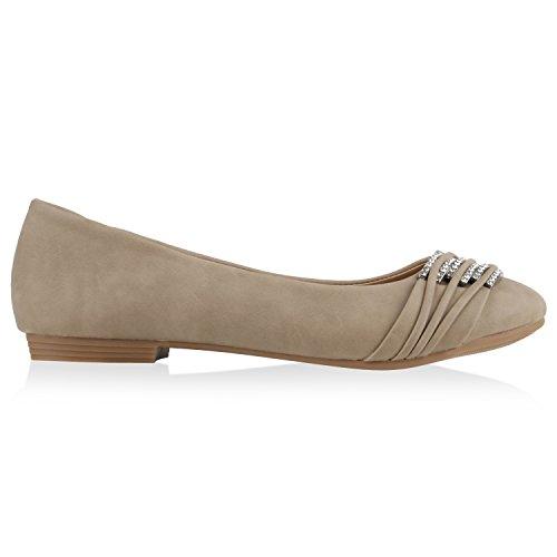 Klassische Damen Strass Ballerinas Elegante Slipper Übergrößen Metallic Glitzer Flats Schuhe 135357 Creme 36 Flandell MPAbe9s