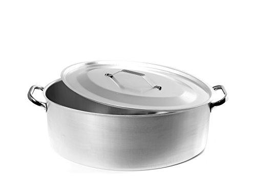 Pentole Agnelli AGNELLI Casseruola Ovale Alluminio con Coperchio cm32 Pentole Cucina, Acciaio Inossidabile, Argento, 32x22x13 cm