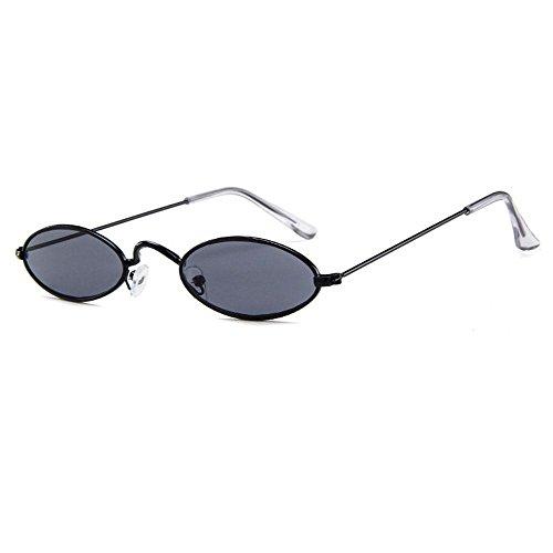 AOLVO, oval, Mini-HD-Brille, rund, im Vintage-Stil, für Herren, Damen, Mädchen Black Frame Grey Lens