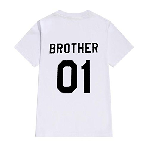 Juleya Couple T-Shirt Cómoda Camisa con Cuello Redondo Sister 01, Brother  01