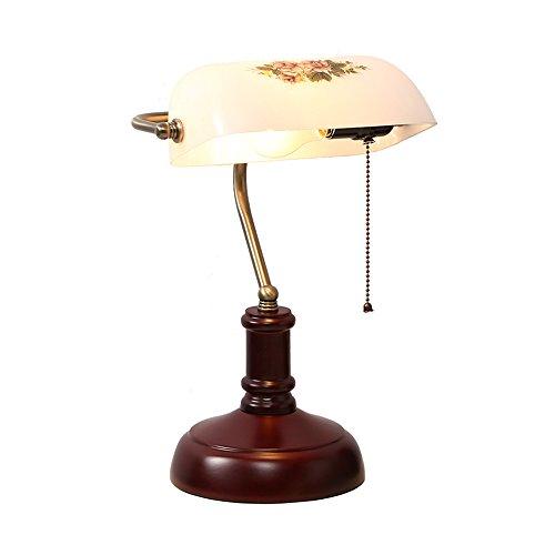 Lampe De Table Lampes de table traditionnelles banquiers rétro avec la lampe de bureau en cuivre de verre d'ombre LED 14 * 42 * 23cm