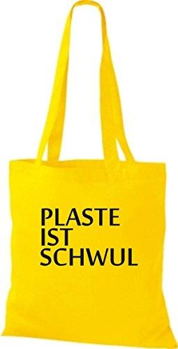 ShirtInStyle Stoffbeutel Jute SHOPPER UMHÄNGETASCHE PLASTE IST SCHWUL diverse Farbe gelb