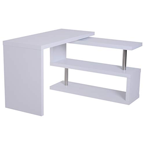 HOMCOM Computertisch Eckschreibtisch Winkelschreibtisch Schreibtisch Bürotisch PC Tisch Matt Weiß