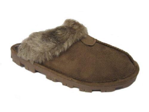 Da donna camoscio sintetico pelo sabot pantofola pantofole di mulo ladies taglia uk 3 4 5 6 7 8 - marrone scuro, 37 eu