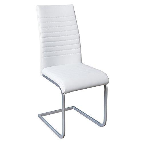 Invicta Interior Moderner Freischwinger Stuhl APPARTMENT weiß Chromgestell matt lackiert Esszimmerstuhl Stuhl - Kunststoff-stuhl Moderner