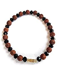 Handmade Natural Rudraksha Seed & Black Crystal Beads Bracelet Men Women Jewelry By Krishi Trade
