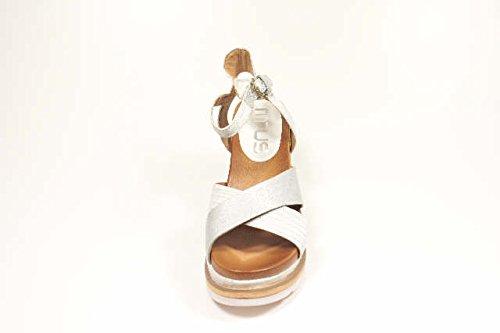 Mjus  872007 Bianco Argento, Sandales pour femme Weiß