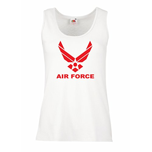 lepni.me Damen Tank-Top United States Air Force (USAF) - U. S. Army, USA Armed Forces (Large Weiß Rote) (Usmc-logo-aufkleber)