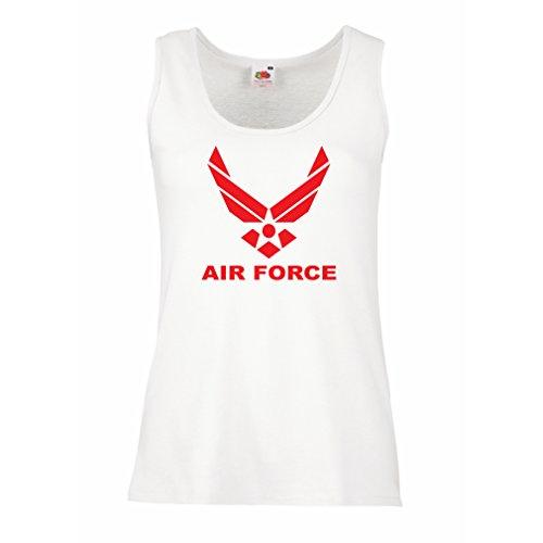 lepni.me Damen Tank-Top United States Air Force (USAF) - U. S. Army, USA Armed Forces (Large Weiß Rote) (Usmc-logo-aufkleber)