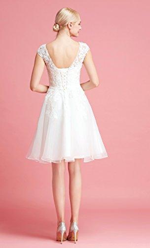 Brautkleid Knielang Weiß mit Stickereien - 6