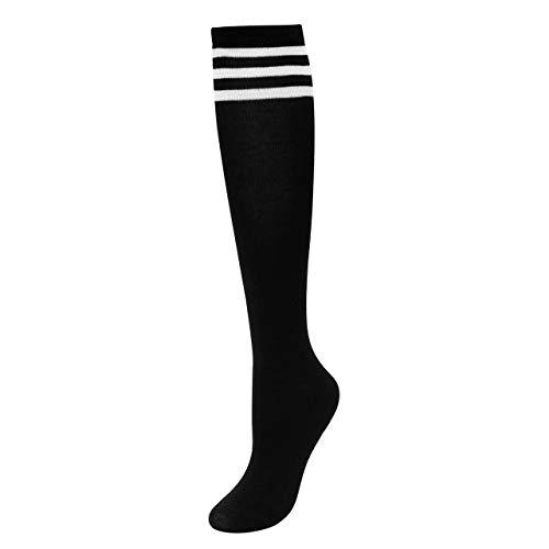 Kostüm Fashion College - CHIC DIARY Kniestrümpfe Damen Mädchen Fußball Sport Socken College Cheerleader Kostüm Strümpfe Cosplay Streifen Strumpf
