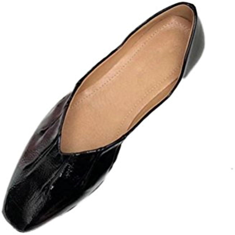 QPYC Mesdames Talons plats tête Mouth carrée Shallow Mouth tête Grandma chaussures Casual Souliers simples femmes ChaussuresB07C9TM51DParent 6e88ff