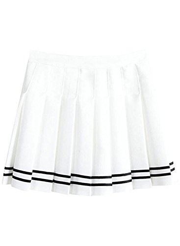 Azbro Sweet Preppy Style Pleated Mini Skirt, White M (Skirt Pleated Floral Midi)