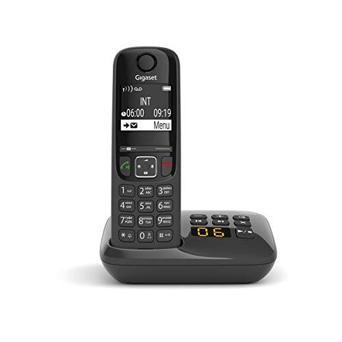 Gigaset AS690A - Schnurloses Telefon mit Anrufbeantworter - DECT-Telefon mit Freisprechfunktion, großes Display und großen Tasten - Festnetztelefon, schwarz