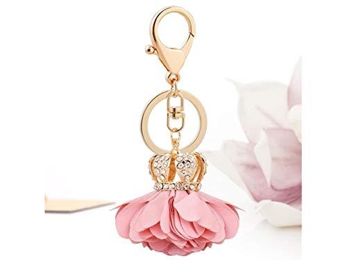 QWhing Schlüsselhalter Crown Stoff Blume Form Keychain Handtasche Anhänger Autoschlüsselring für Frauen Dame Mädchen Dekoration (Rosa) Auto-Schlüsselanhänger -