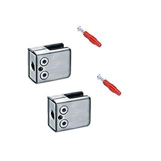 2x Glashalter 8mm 8,38mm 8,76mm Edelstahl 45x44x24mm vorne eckig / Abschluss flach   SET