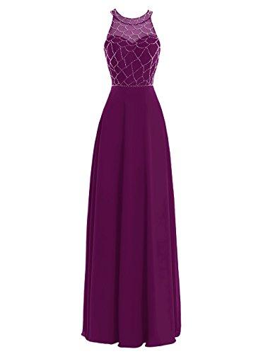 Dresstells Damen Lang Chiffon Promi-Kleider Ärmellose Abendkleider Orange
