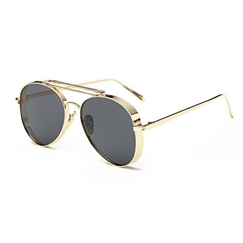 LX-LSX Sonnenbrille Im Freien Fahren Dekorative UV Schutz Metall Komfortable Und Langlebige Männer Und Frauen Sonnenschirm Gläser (Farbe : Gold Frame Black Gray Lens)