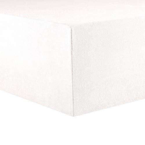 CelinaTex Lucina Topper Spannbettlaken 180x200 - 200x200 schnee weiß Baumwolle Spannbetttuch