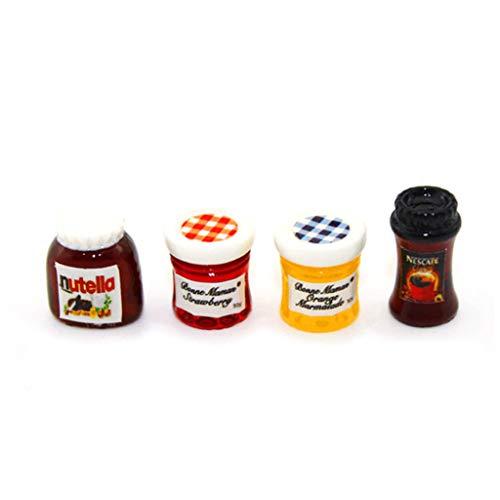 Keepart 4-teiliges Set Ketchup Sauce Marmelade Salat Mini Kaffee Küche Zubehör für 1:12 Puppenhaus Miniatur Dinnerhaus -
