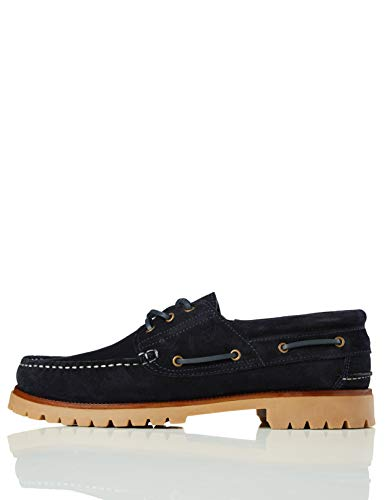 Marca Amazon - find. Leather, Náuticos Hombre, Azulblue navy, 43 US 10