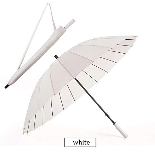 Regenschirm Langen Griff weiblich große Doppel handgefertigte Vintage schwarz antiken Regenschirm Männer Persönlichkeit kreativ (Color : White)