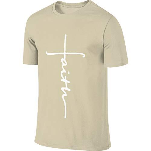 Herren Sommer T-Shirt Faith Cross Christian T-Shirt Freizeithemden für Herren Big Boys Kurzarm Rundhals Baumwolle Tops Natural S - Jesus Youth Sweatshirt
