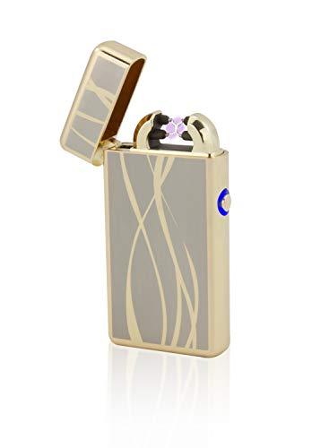 TESLA Lighter T08 Lichtbogen Feuerzeug, Plasma Double-Arc, elektronisch wiederaufladbar, aufladbar mit Strom per USB, ohne Gas und Benzin, mit Ladekabel, in Edler Geschenkverpackung, Gold Linien