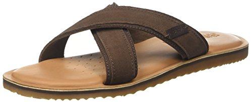Geox u artie c, sandali punta aperta uomo, marrone (ebony), 42 eu