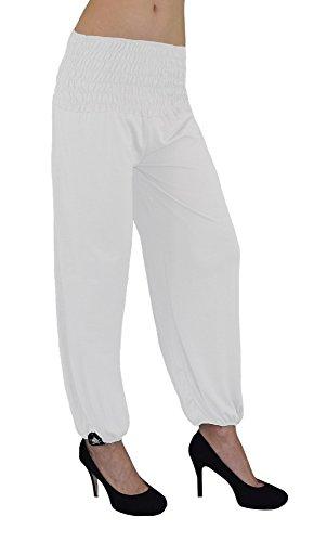 Gorilla-Star Damen-Yoga- oder Wellness-Hose mit dehnbarem Bund in 4 Größen von XXS bis 6XL wählbar White