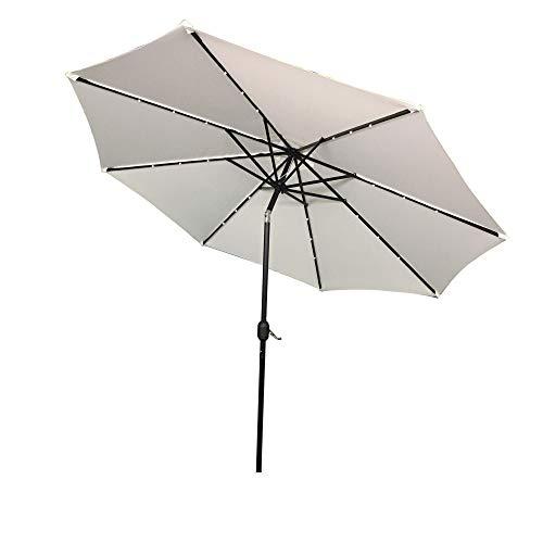 Aufun Sonnenschirm 300cm mit kurbel und Solarbetriebene Warmweiß LED UV Schutz Neigbar 40+ - Beige Alu Balkon Terrassenschirm Marktschirm Gartenschirm (Beige)